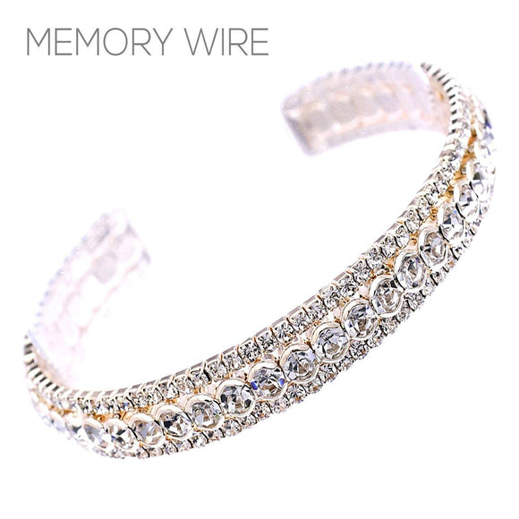 GOLD CUFF BANGLE CLEAR STONES ( 83087 )