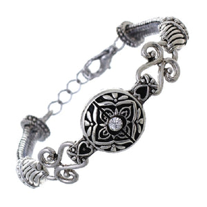 Silver Round Filigree Rope Style Bracelet ( 83312 )