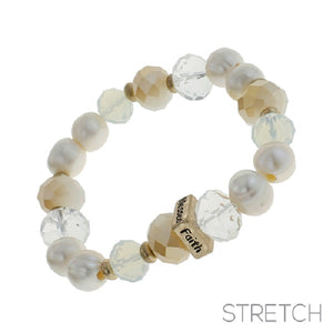 Freshwater Pearl and Glass Beaded Inspirational Stretch Bracelet ( 83367 )