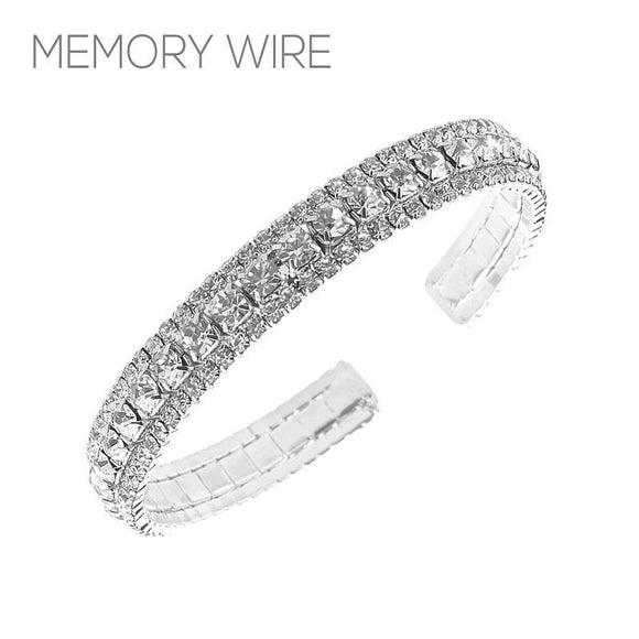 Silver Clear Rhinestone 3 Line Memory Wire Bracelet Adjustable ( 83388 )