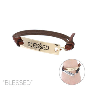 "Brown Leather Clasped Bracelet with Gold ""BLESSED"" Bar ( 83417 )"