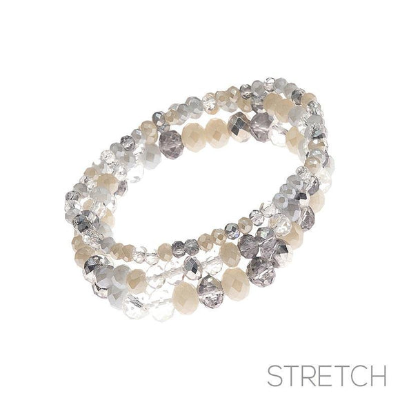3 Layer Cream and Gray Glass Beaded Stretch Bracelets ( 83476 CM )