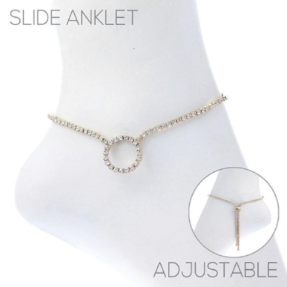 Gold Clear Rhinestone Circle Shape Slide Anklet ( 83516 )