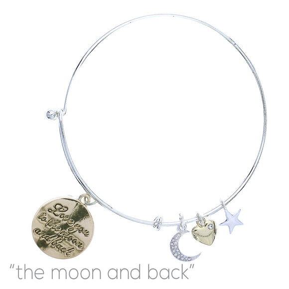 SILVER BANGLE WITH GOLD MOON CHARMS ( 83623 )