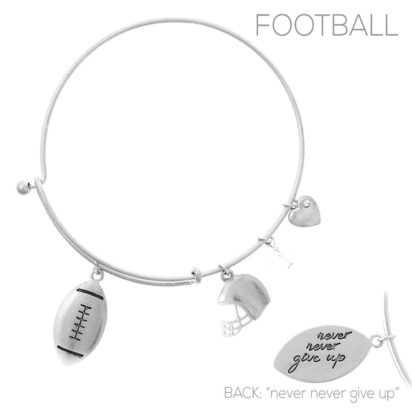 SILVER BANGLE FOOTBALL CHARMS ( 83713 )
