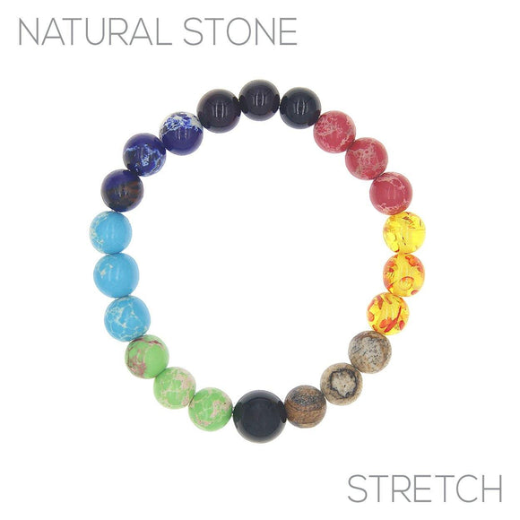 8MM MULTI COLOR BEAD STRETCH BRACELET ( 83722 )