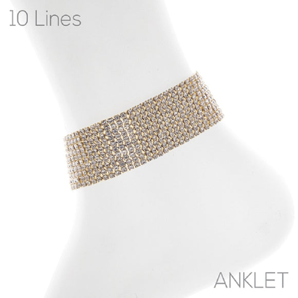 10 LINE GOLD ANKLET WITH CLEAR STONES ( 83735 )