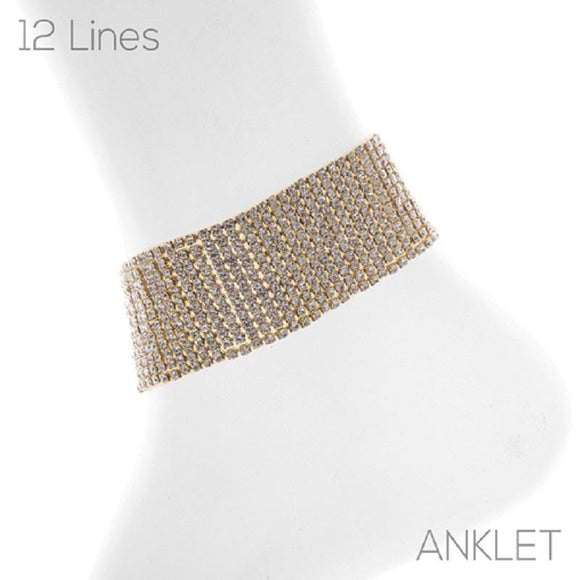 12 LINE GOLD ANKLET WITH CLEAR STONES ( 83735 )
