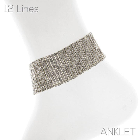 12 LINE SILVER ANKLET WITH CLEAR STONES ( 83735 )