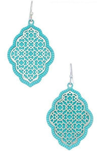 "1 3/4"" Matte Silver and Light Blue Ornate Filigree Style Dangle Earrings ( 8590 )"
