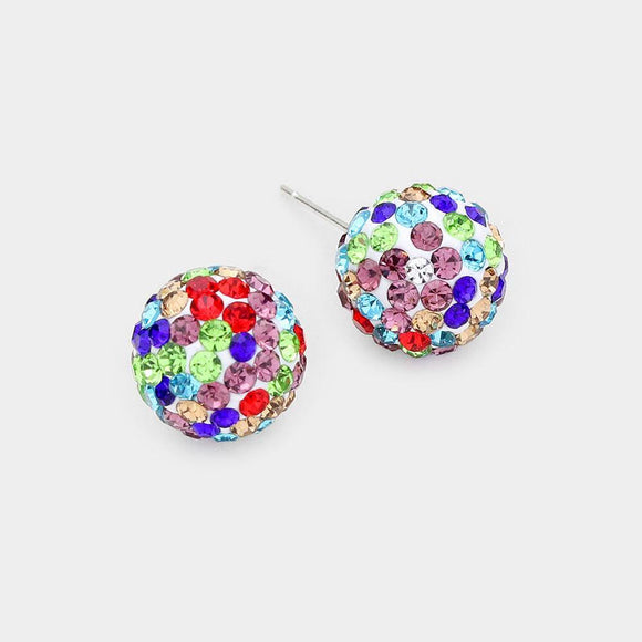 12MM MULTI COLOR RHINESTONE BALL STUD EARRINGS ( 03 30 )