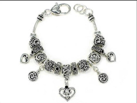 SILVER CHARM BRACELET FILIGREE HEART CHARMS ( 06447 )