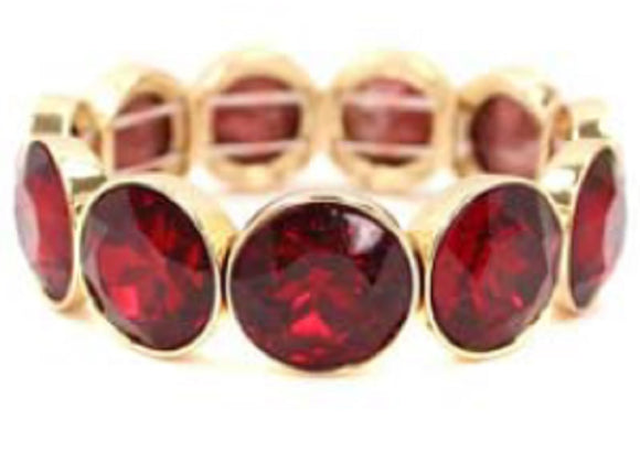 18MM GOLD RED STRETCH BRACELET ( 5162 )