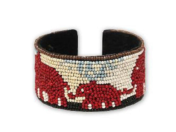 WHITE BLUE BEAD RED ELEPHANT CUFF BANGLE ( 00518 RDMT )