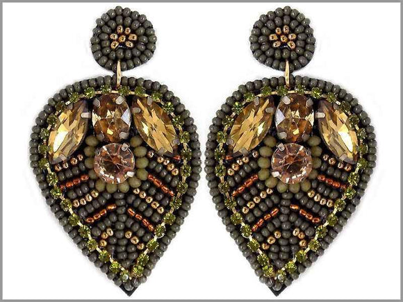 GREEN GOLD BEAD LEAF EARRINGS ( 2804 )