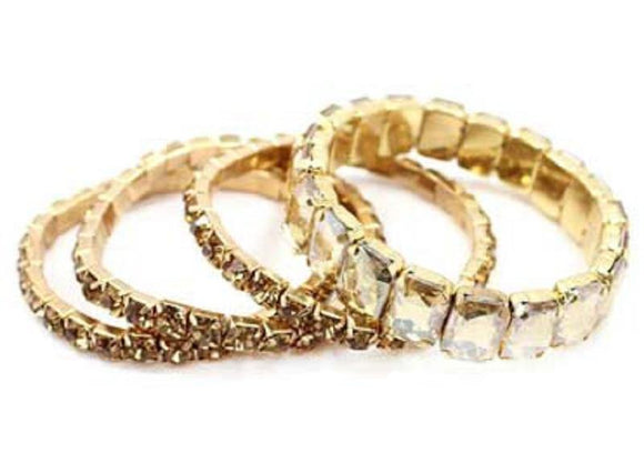 4 GOLD STRETCH BRACELETS WITH TOPAZ STONES ( 5202 GDCHM )