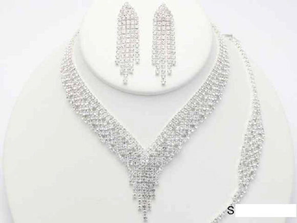 SILVER 3 PIECE NECKLACE SET BRACELET CLEAR STONES ( 19113 )