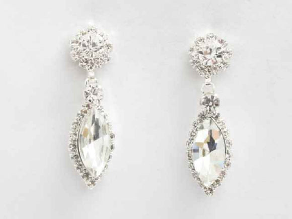 SILVER CLEAR EARRINGS CLEAR STONES ( 6282 CL )