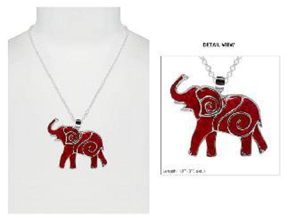 SILVER NECKLACE RED ELEPHANT PENDANT ( 2477 ASRD )