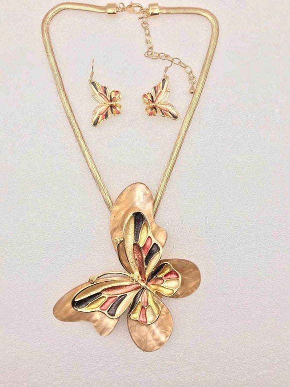 GOLD BROWN MULTI COLOR BUTTERFLY NECKLACE SET ( 3680 GBN ) - Ohmyjewelry.com