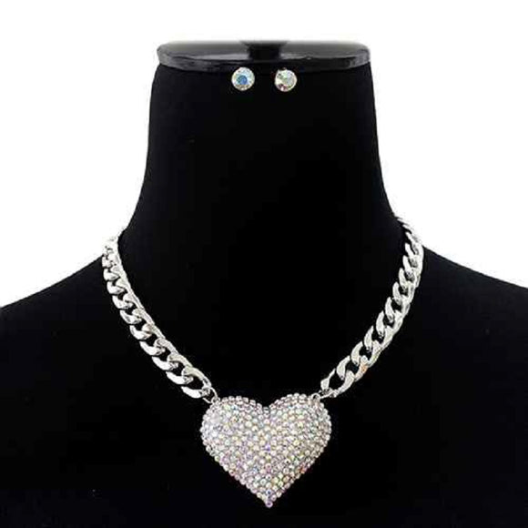 SILVER AB Pave Heart Charm Necklace SET ( 7157 RDACL )