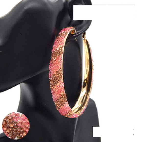 GOLD HOOP EARRINGS GOLD PINK STONES ( 3183 GDPK )