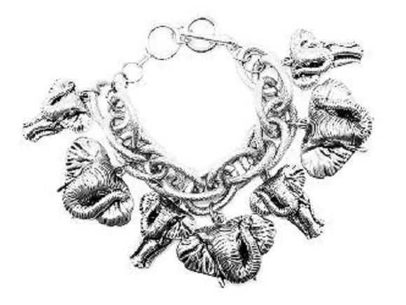 SILVER CHUNKY BRACELET ELEPHANTS ( 00488 AS )