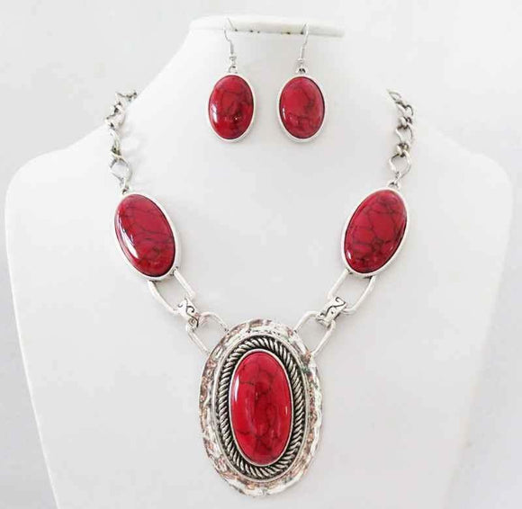 SILVER NECKLACE SET RED STONES ( 3195 )
