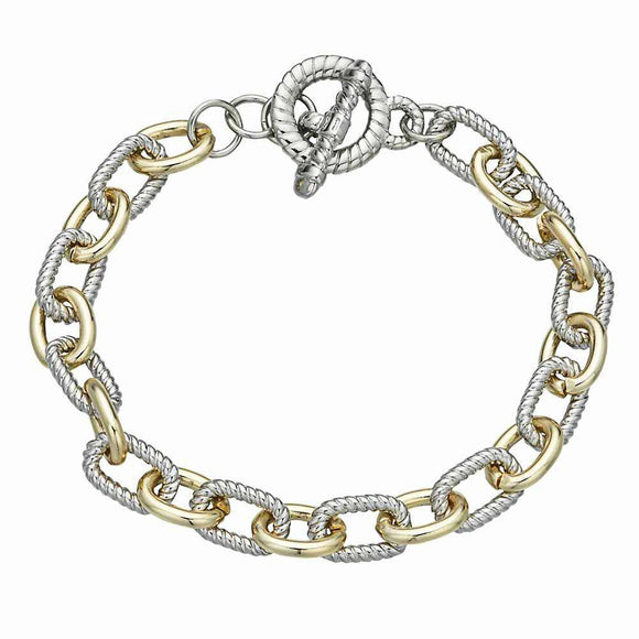 TWO TONED CHAIN LINK BRACELET ( 8406 )