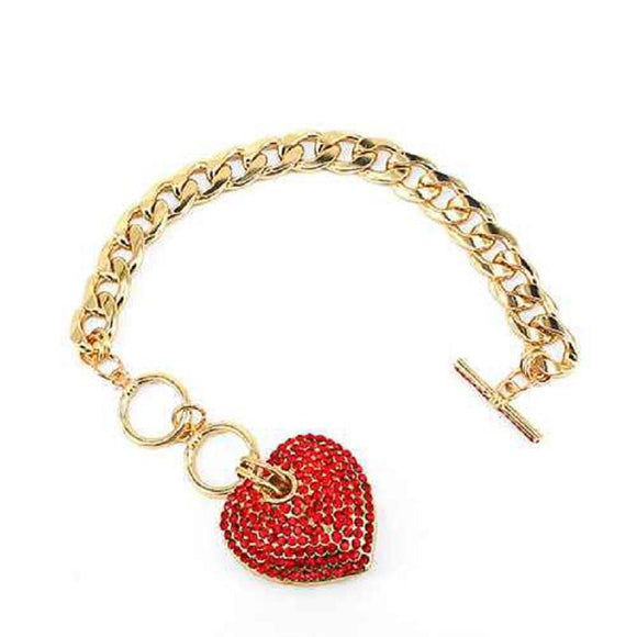 GOLD HEART CHARM BRACELET WITH RED STONES ( 7032 GDRED )