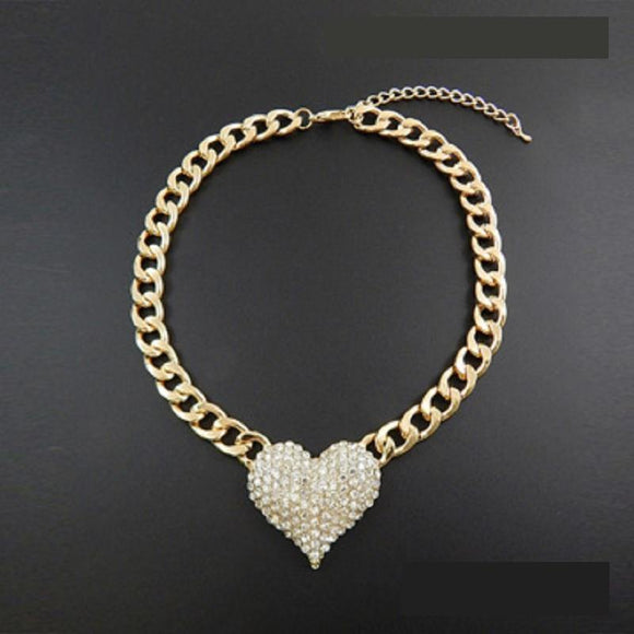 GOLD NECKLACE CREAM PEARLS HEART PENDANT ( 9091 GDCRM )
