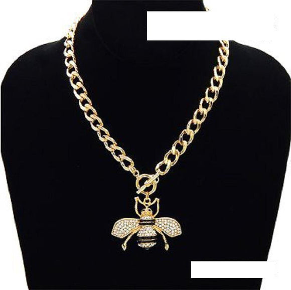 GOLD BLACK ENAMEL CLEAR RHINESTONE BEE TOGGLE NECKLACE ( 3438 )