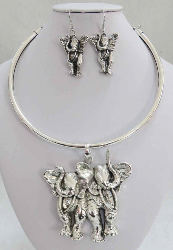 ANTIQUE SILVER CHOKER SET ELEPHANT ( 3937 AS )