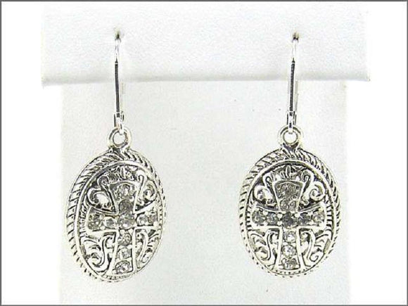 CROSS STONE LEVERBACK EARRINGS ( 0121 ) - Ohmyjewelry.com