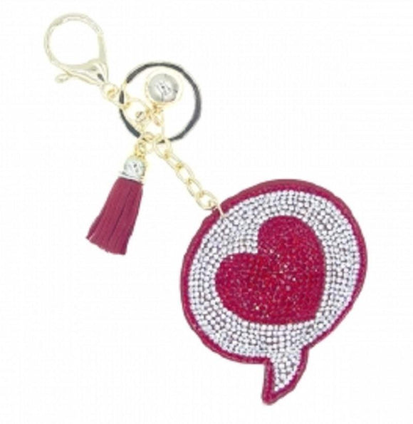 RED CLEAR WORD BUBBLE HEART KEYCHAIN ( 31466 )