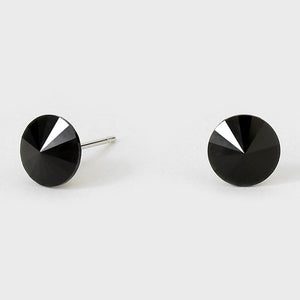 8mm Black Crystal Stud Earrings