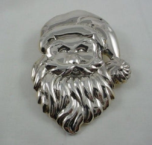 Large Silver Santa Clause Head Pendant or Brooch