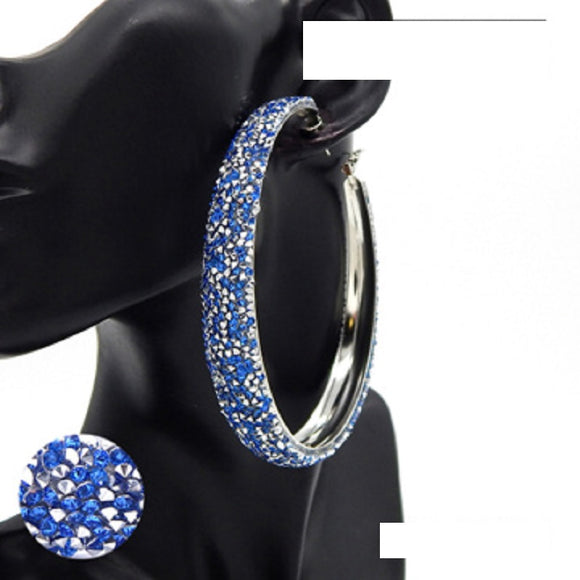 SILVER HOOP EARRINGS BLUE SILVER STONES ( 3183 RDBLU )