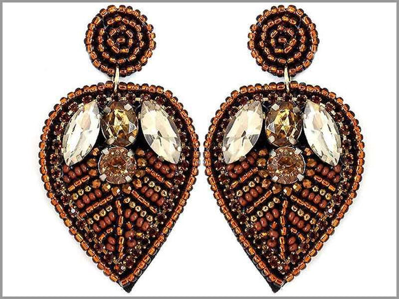 BROWN BEAD LEAF EARRINGS ( 2804 )