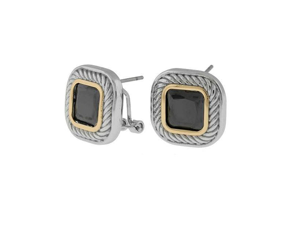 TWO TONED BLACK CZ CUBIC ZIRCONIA EARRINGS FRENCH POST ( 6522 ) - Ohmyjewelry.com
