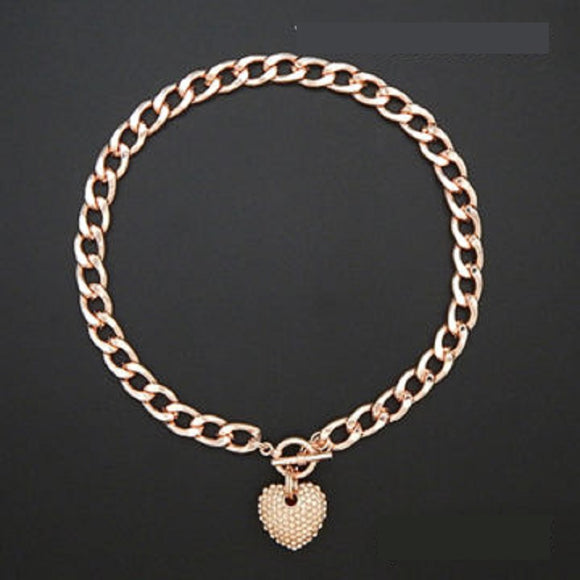 ROSE GOLD NECKLACE HEART PENDANT PEACH STONES ( 1442 RGPCH )