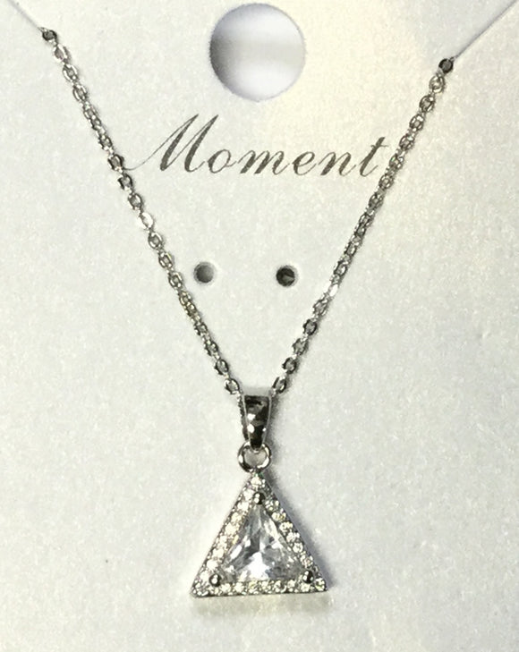 SILVER NECKLACE TRIANGLE PENDANT CUBIC ZIRCONIA CZ ( 125 )