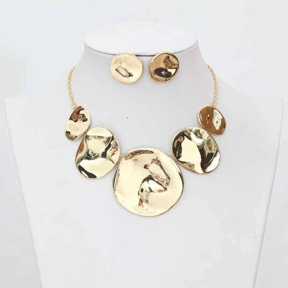 GOLD HAMMERED NECKLACE SET ( 3317 )