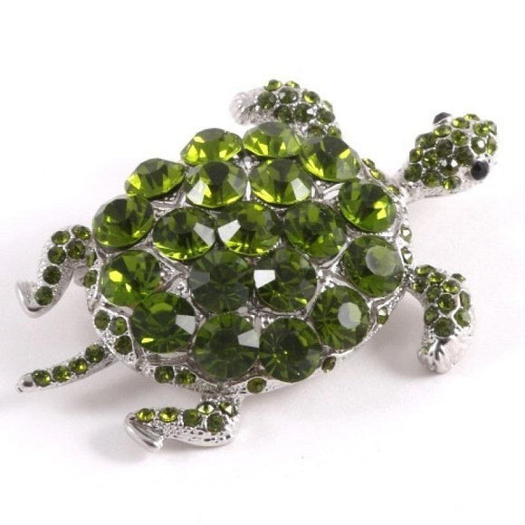 SILVER TURTLE BROOCH GREEN STONES ( 0611 )