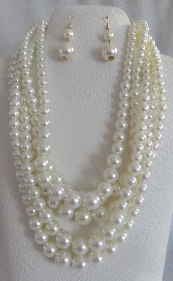 5 STRAND CREAM PEARL NECKLACE WITH MATCHING EARRINGS ( 3869 CRM )