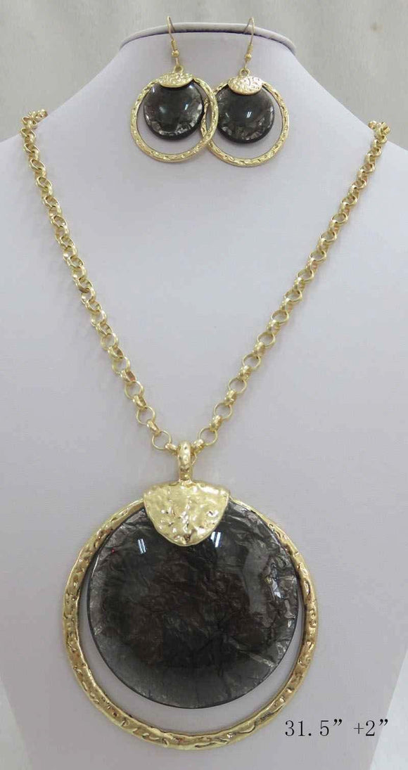 LONG GOLD NECKLACE SET BLACK STONES ( 3714 MGBK ) - Ohmyjewelry.com