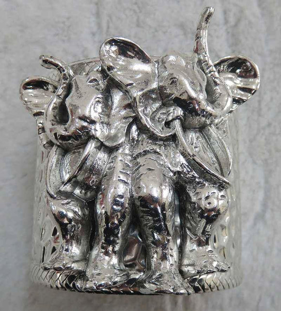 SILVER CUFF BANGLE ELEPHANT ( 3937 AS )