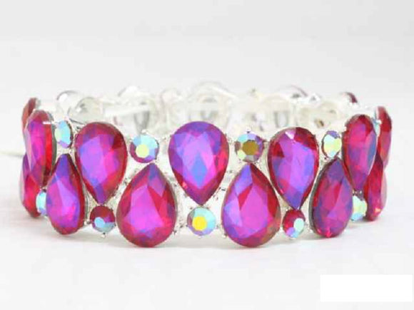 SILVER RED AB Teardrop Stone Stretch Bracelet ( 3393 S2RD )