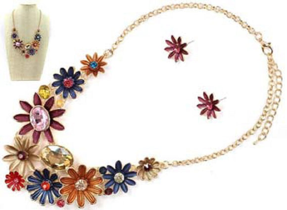 GOLD NECKLACE SET MULTI COLOR FLOWER ( 7004 GDMU4 )