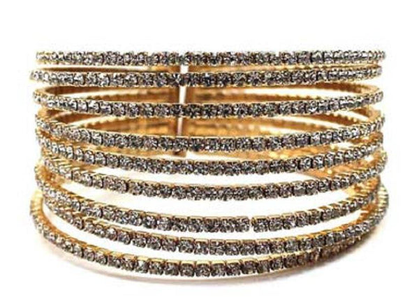 GOLD 9 LINE CUFF BANGLE CLEAR STONES ( 1121 GDCRY )